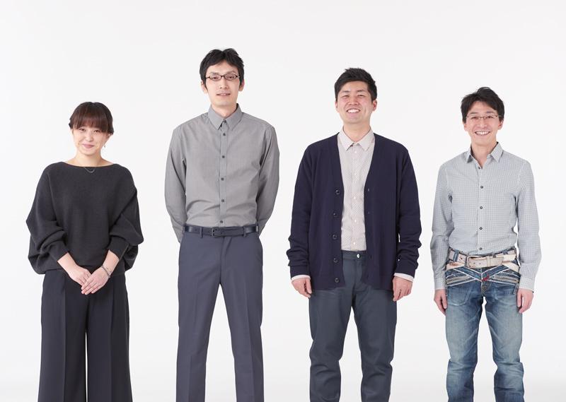 今回参加したCGデザイナー。 左から:堤 麻里子、山上 誠、長谷 智章、斎藤 勇貴